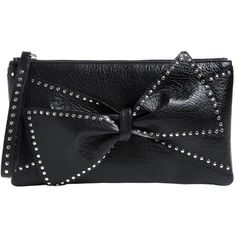 Red Valentino Women Small Studded Bow Leather Clutch (1,530 PEN) ❤ liked on Polyvore featuring bags, handbags, clutches, black, studded leather handbags, studded purse, 100 leather handbags, leather handbags and bow handbags