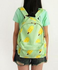 Washed Canvas Ice Lolly Print Backpack in Green - Not Leather - Backpack Bags - Bags - All Products