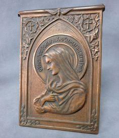 Antique Repousse Copper Plaque of Virgin Mary, Madonnaetsy.com