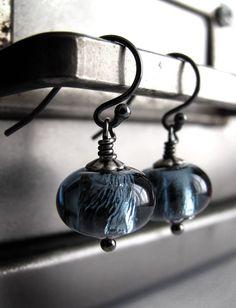 Slate Blue Glass Beads Earrings