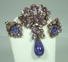 Regency Purple and Lilac Brooch and Earring Set