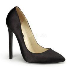 "5"" Stiletto Heel Pointy Toe Pump Black Satin"