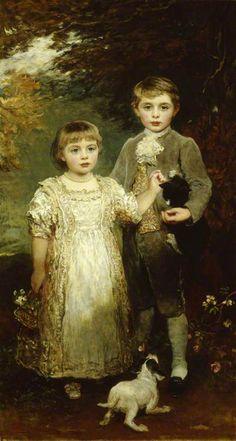 James Sant ( 1820-1916) — The Honourable Arthur Victor Agar-Robartes  and the Honourable Edith Violet Kathleen Agar-Robartes,  1893 : Lanhydrock,Bodmin, Cornwall. England   (428x800)
