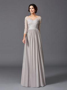 A-Line/Princess V-neck Ruffles 3/4 Sleeves Long Chiffon Mother of the Bride Dresses