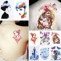 8 Sheets Temporary Tattoo Sticker Beauty Women Back Body Art Waterproof Angel Decal ** Details can be found by clicking on the image. (This is an affiliate link) #Makeup