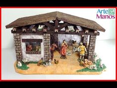 Stable for nativity scenes made in porexpan Step by Step Christmas Crafts, Christmas Decorations, Medieval Houses, Arts And Crafts, Clock, Bird, Outdoor Decor, Holiday, How To Make