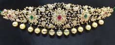 stunning diamond waist belt design a beautiful floral and leafy design looks luxuriously feminine. The center of the diamond flowers with rubies and emeralds sri raj Indian Wedding Jewelry, Indian Jewelry, Bridal Jewelry, Indian Bridal, Gold Jewellery Design, Gold Jewelry, Jewelery, Diamond Jewellery, Jewelry Sets