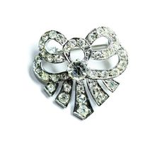 Art Deco Style Silver Coloured Sparkly Rhinestone Diamante Bow Brooch (c1950s) - Wedding by GillardAndMay on Etsy