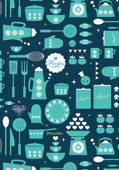kitchen_pattern_teal by Kat - TeamKitten, via Flickr
