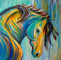 horse, paintings, colorful, abstract, caballo, pinturas, colorido, abstracto Más