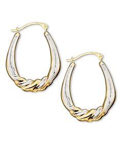 10k Two Tone Gold Hoop Earrings