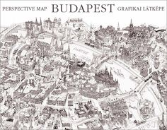 Artistic Illustrated Perspective Maps of Budapest, Hungary