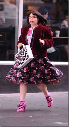 Ugly Betty Outfits. The outfit is ugly but I want these socks and shoes.