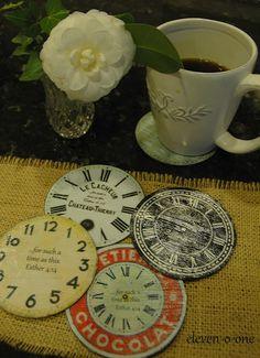 Good idea for reusing CDs!!  DIY clock face coasters