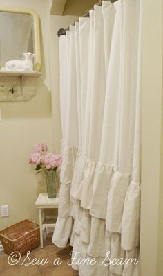 ruffled shower curtain in my bathroom made by jill at sew a fine seam