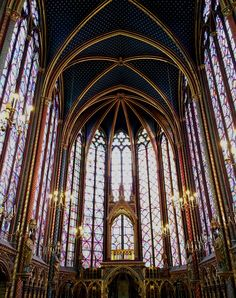 Sainte-Chapelle. The most beautiful stained glass that we saw in Paris. Included in the Paris Museum Pass.