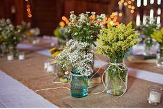 books, burlap, jars, and wildflowers.... mmm