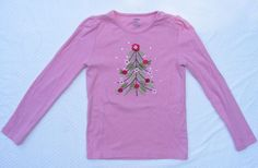 GYMBOREE Graphic Tee, Pink Long Sleeve Christmas Tree design 100% Cotton, Sz 8 #Gymboree
