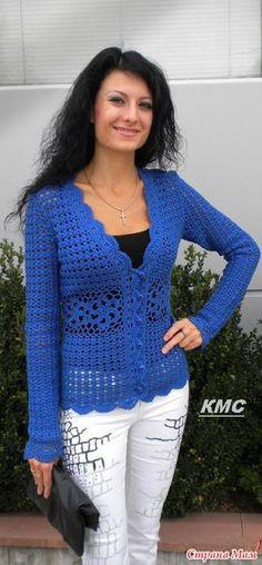 Mais um modelo lindo de casaco de crochê.