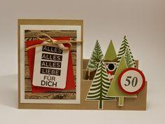 Stampin´Up! Zickzack- Geburtstagskarte zum 50. Geburtstag für eine Walkerin mit Eulenstanze, Hardwood-Stempel und Christbaumfestival