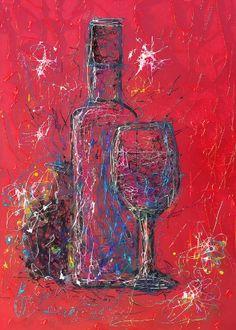 Line Artwork, Bird Poster, Wine Art, Impressionism Art, Color Lines, Bottle Art, Minimalist Art, Beautiful Artwork, Line Drawing