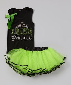 Another great find on #zulily! Black 'Princess' Tank & Lime Pettiskirt -  Toddler & Girls by Beary Basics #zulilyfinds