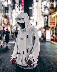 ripped techwear streetwear hoodie on Mercari Streetwear Summer, Japanese Streetwear, Streetwear Fashion, Streetwear Brands, Hoodie Outfit, Sweater Hoodie, Ripped Hoodie, Hypebeast, Mens Sweatshirts