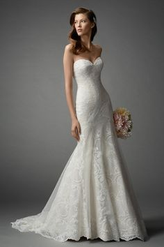 Watters Sweetheart Fit and Flare in Lace   KleinfeldBridal.com