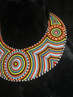 Handmade with colorful african beads Bead Embroidery Patterns, Bead Embroidery Jewelry, Beaded Embroidery, Beading Patterns, African Necklace, African Beads, African Jewelry, Bib Necklaces, Beaded Necklace