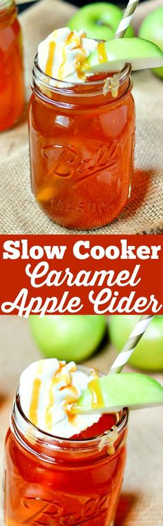 Set it and forget it! This Caramel Apple Cider made in the slow cooker has only . Set it and forget it! This Caramel Apple Cider made in the slow cooker has only 3 ingredients, will leave your house smelling amazing, and warms your soul. Apple Recipes, Fall Recipes, Crockpot Recipes, Holiday Recipes, Cooking Recipes, Crockpot Drinks, Non Alcoholic Drinks, Cocktails, Beverages