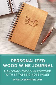 For true wine enthusiasts, this wine journal has hardcovers made from natural mahogany wood, and 87 recycled cotton pages to record tasting notes and attach bottle labels from your favorite wines. Monogram Design, Lettering Design, Circle Design, Box Design, Classic Fonts, Arrow Design, Personalized Wine, Bottle Labels, Wines