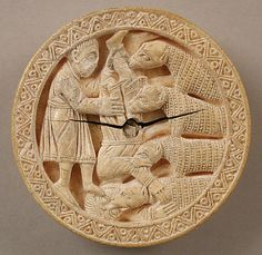 Game Piece with Hercules Throwing Diomedes to His Man-Eating Horses, c 1150, Cologne, Elephant Ivory, 2 3/4 x 13/16 in (7x2cm)