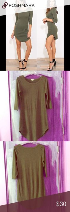 Heart & Hips Olive 3/4 Sleeve Knit Dress Olive Green. 3/4 Sleeve. Scoop neckline and hemline with double stitching. Mid thigh in length depending your height. Very comfy fit. Stretchy material. Tags were removed to try on. Heart and Hips Dresses Midi