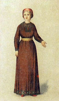 A costume of a married woman in medieval  Russia. The XIth century. #medieval #history #Russian #costume