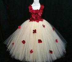 Champagne & red hydrangea flower tutu dress/ Flower girl dress/Party dress(Aqua,white,ivory,burgundy,lavender many colors available) Lavender Dresses, Ivory Dresses, Flower Dresses, Flower Girl Tutu, Red Hydrangea, Tulle Dress, On Your Wedding Day, Baby Dress, Wedding Dresses