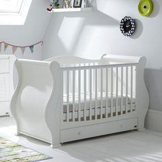 Tutti Bambini Louis Sleigh Cot Bed & Drawer - White