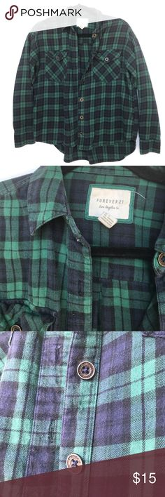 Green & Blue Flannel button down flannel that is dark green & navy - super cute, comfy, soft - very good condition Forever 21 Tops Button Down Shirts