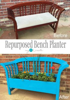 My Love 2 Create repurposed a bench into a planter.  This planter bench is perfect for your patio or garden.