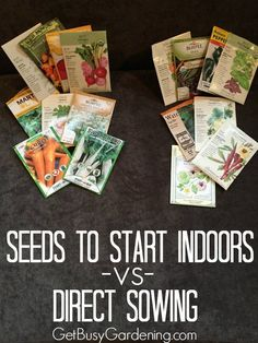 This is a great list of seeds you can start outside in the garden, and seeds that are better to start indoors. I'm going to keep this list for when it's time to start my seeds this year. It's going to make things so much easier! Fall Vegetables, Growing Vegetables, Organic Gardening, Gardening Tips, Vegetable Gardening, Indoor Gardening, Gardening Direct, Gardening Services, Veggie Gardens