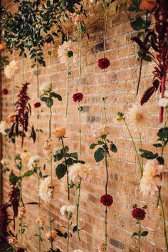 Wedding Photos - Intimate Art Deco Wedding at Brique Chicago - Chicago, IL Hanging Flowers Wedding, Wedding Flower Backdrop, Ceremony Backdrop, Outdoor Ceremony, Cheap Wedding Flowers, Hanging Flower Wall, Wedding Picture Walls, Wedding Centerpieces, Wedding Decorations