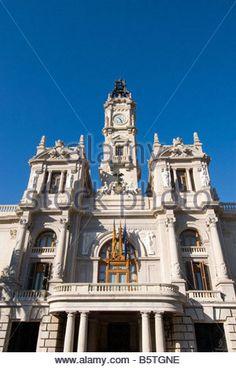 Town Hall building on central Plaza del Ayuntamiento square Valencia Spain…