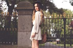 Short dress, long sleeves.