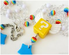 Super Mario Winged Question Block Colorful Beaded Rosary in Silver - Gamer, Kawaii Jewelry