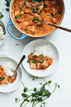 chicken tikka masala w/ cumin, coriander, cayenne, chicken breasts, greek yogurt, garlic, ginger root, onion, serrano chile, tomato paste, garam masala (coriander, cardamom, cinnamon & black pepper), crushed tomatoes, sugar, heavy cream & cilantro, serve w/ basmati rice