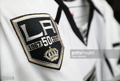 A patch sewn on to a jersey of the Los Angeles Kings commemorates their 50th season #WeAreAllKings