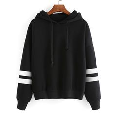 MIOIM Women's Autumn Winter Warm Fleece Hooded Sweatshirt Fashion Striped Splicing Sleeve Loose Hoodies Pullover Jumper Tops - Our Store Ali Sweat Shirt, Pull Sweat, Hoodie Sweatshirts, Pullover Sweaters, Hoody, Long Sleeve Tops, Clothes, Outfits, Image Link