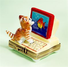 Limoges Orange Cat by Computer with Fish Box The Cottage Shop