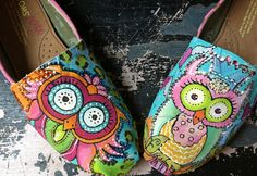 Colorful Whimsy OWLS design hand painted on YOUR TOMS  design fee only. $125.00, via Etsy.