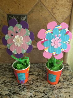 GS Daisy Craft: for the Lupe Petal. I had my girls make their own Daisy flower garden. Used paper cut out flowers, pipe cleaners, googly eyes, tissue paper and a paper cup. Note: had to use a styrofoam ball in each cup to hold the flower upright.