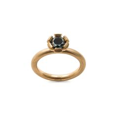 6 Claw Solitaire Ring courtesy of Cinnamon Lee for Rare Earth: Australian Made. Australian parti sapphire in yellow gold.